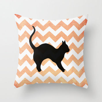 Halloween Black Cat 16x16  Throw Pillow Case Cover Orange Chevron October Gifts Home Decor