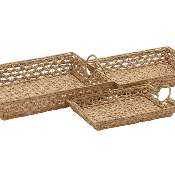 Sea-Grass Trays, Set of 3, Decorative Trays