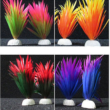 Artificial Plastic Plant Narcissus Water Grass Fish Tank Aquarium Decoration HOT