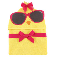 Hudson Baby Girls Animal Face Hooded Towel - Cool Chick