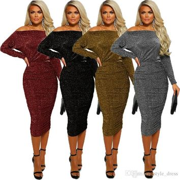 Women Pencil Dress Sexy Off the Shoulder Long Sleeve Bodycon Midi Club Party Dress