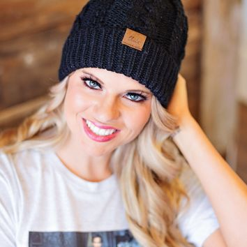 *Cable Knit Fleece Lined Pom Beanie : Black