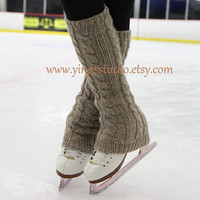 Cable knit Leg Warmers - Boot Cover - 100% Wool  - Hand Knitted - Ice Skating Leg Warmers - Extra Long - Camel - Beige -  CHOOSE YOUR COLOR