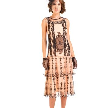 Nataya AL-282 Eva 1920s Flapper Style Party Dress in Peach