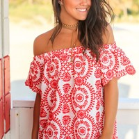 Red and White Off Shoulder Embroidered Top