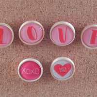 Wooden button Love message thumbtacks - whimsical office decor, unique valentine's day gift for college student, care package - push pins