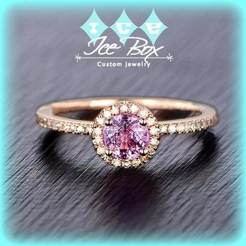 Pink Sapphire Engagement Ring 5mm, .75ct Round Raspberry Pink Sapphire set in a 14k Rose Gold Diamond Halo Setting
