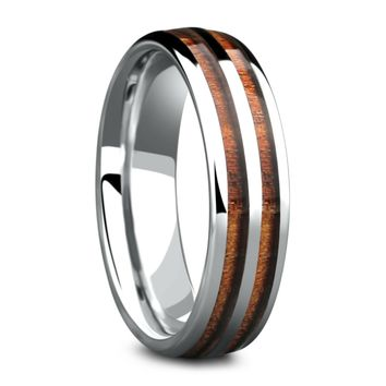 The Silver Wood Barrel Ring (6mm Width)