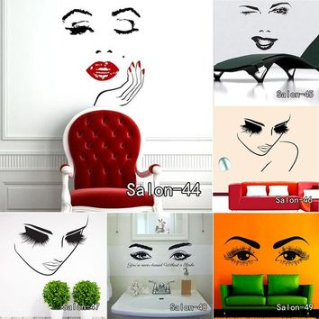 Beauty Salon Girl Face with Hand Manicure Nail Lips Wall Decals Vinyl Wall Stickers Interior Home Decor Art Murals Sticker