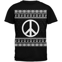 Peace Sign Ugly Christmas Sweater Black Adult T-Shirt