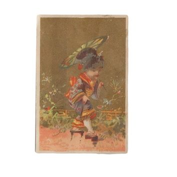 Vintage Asian Painted Lithograph Card