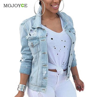 New Boyfriend Style Loose Women Denim Jacket Holes Ripped Oversize Jeans Coat Outwear Plus Size Jeans Jacket Jaqueta Feminina