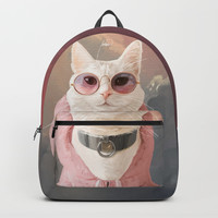 Fashion Portrait Cat Backpack by lostanaw