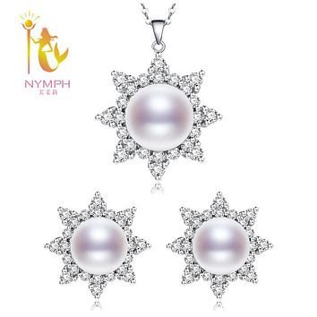 [NYMPH] Wedding Pearl Jewelry Set Real Natural Fresh Water Pearl Necklace Earrings Fine For Party Anniversary Sunlight[T2311]