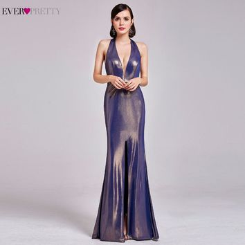 2017 New Collection Long Prom Dresses Ever Pretty EP07206GD Women's Sexy Backless V Neck High Splits Prom Party Dresses