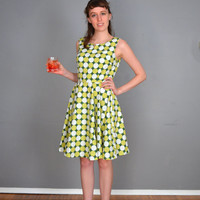 Green, Geometric Summer Dress. Lime, White. Small. 1960 Vintage Reproduction. One of a Kind. Ready to Ship.