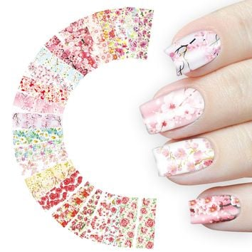 Sakura Nail Art Sticker 24 Sheet Flowers Water Nail Decals Rose Daisy Cherry Blossom Transfer Full Wraps Manicure Decoration