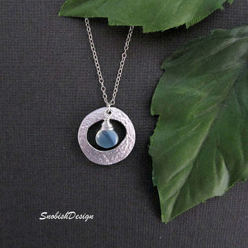Circle Necklace Dainty Sterling Silver Necklace by SnobishDesign