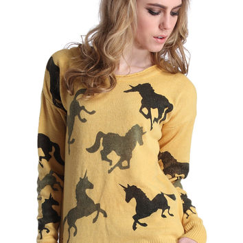 ROMWE Horse Knit Long Sleeves Yellow Jumper