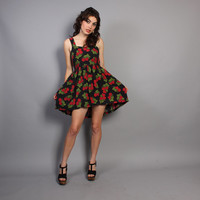 Early 90s BETSEY JOHNSON DRESS / Floral Roses Print Mini Sun Dress, xs-s