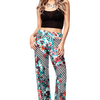 Striped in Floral Palazzo Pants