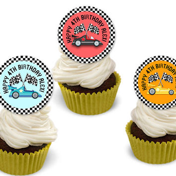 Personalized Race Car Birthday Cupcake Toppers - Boy Race Cars Birthday Cupcake Toppers - Blue - Orange - Boys Party - Racing Party - Kids