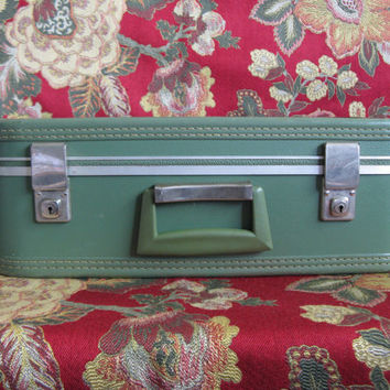 Vintage Hardcase 60s Luggage Pine Green 1960s Carry On Small Compact Suitcase