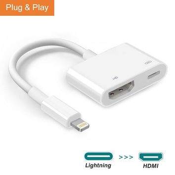 Lighting to HDMI Adapter, Darrent Lightning Digital AV Adapter for Select iPhone iPad and iPod Models with Lightning Charging Port for HD TV Monitor Projector 1080P