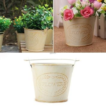 Hot Selling Vintage Galvanised Metal Iron Flower Shabby Vase Pot Barrel Planter Garden Decor YJ41