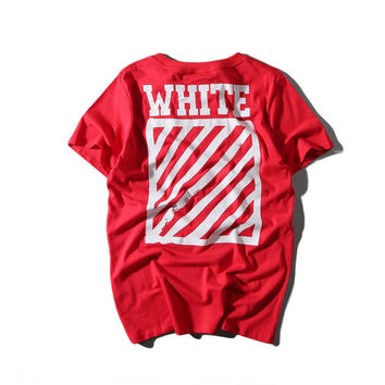 Off White Cotton Alphabet Short Sleeve Casual T-shirts [10262482131]