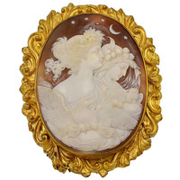 Antique Victorian Cameo Brooch Eos and Nyx Goddesses of Day and Night