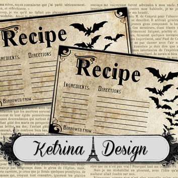 Printable Halloween Recipe Cards 5 x 3 inch instant download digital collage sheet
