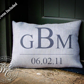 Personalized WEDDING Gift BURLAP PILLOW -  Pillow with 3 Initial Monogram & Established Date