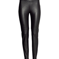 H&M - Imitation Leather Trousers - Black - Ladies