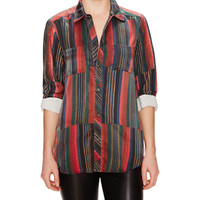 Burning Torch Lou Pointed Collar Silk Blouse from Gilt Groupe | ShapeShop