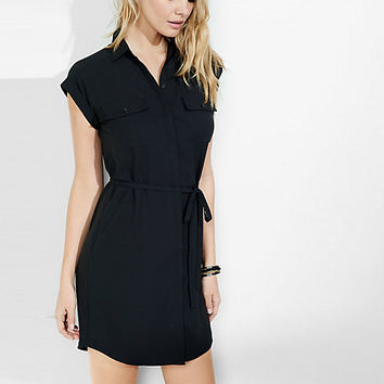 short sleeve pocket shirt dress