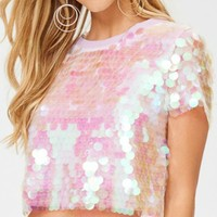 Iridescent Pink Large Sequin Payette Crop Top