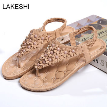 LAKESHI Women Sandals Fashion Summer Shoes Women Solid Flats Sandals Ladies Shoes Flower Back Strap