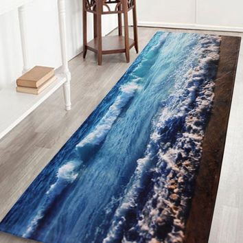Extra Long Sea Wave Coral Fleece Bath Rug