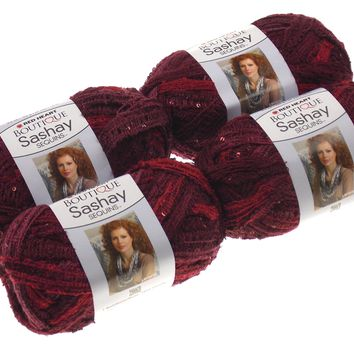 Red Heart Yarn Lot 4 Skeins Balls Boutique Sashay Sequins Cabernet Wine Acrylic