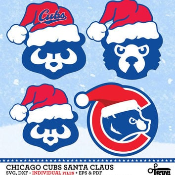 Chicago Cubs Christmas Santa Claus - Digital Vector Clip art Cut Files - SVG, dxf, eps, pdf for Silhouette, Cricut yeti Die Cutting SF-223