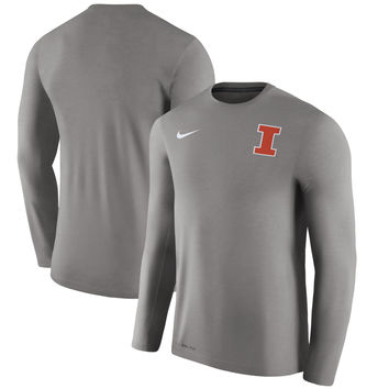 Men's Nike Charcoal Illinois Fighting Illini 2017 Coaches Touch Long Sleeve Performance T-Shirt