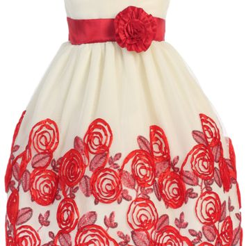 Ivory Tulle & Red Floral Soutache Ribbon Girls Holiday Dress 6-12