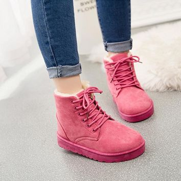Women Winter Ankle Boots 2018 Faux Fur Warming Plush Flat with Boots Ladies Flock Lace Up Shoes Women Botas Mujer 211
