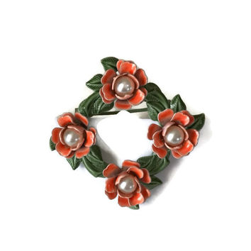 Vintage Square Dainty Circle Pin Enamel Metal Orange Coral Roses with White Pearl Centers and Green Enamel Leaves