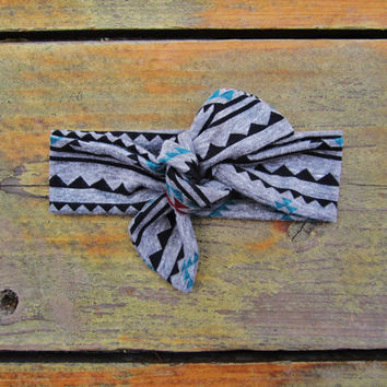 Gray Tribal Knot Headbands - Jersey Knit Fabric - Pick Your Size
