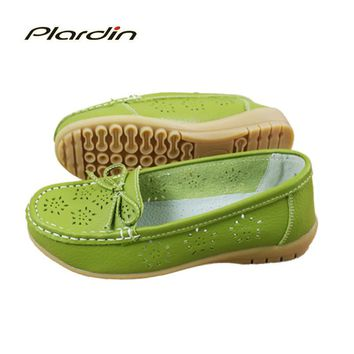 plardin 2017 Cutouts Genuine Leather Shoes Flat Cut outs Women Shoes Ballet Flats Wome