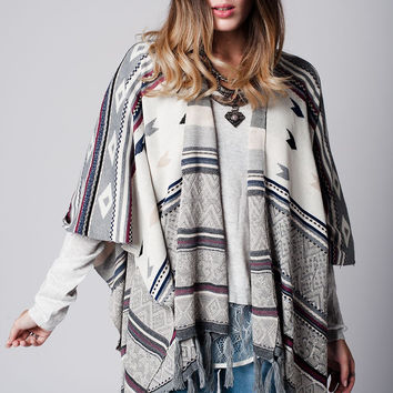 Gray Fringed Poncho with geo print with maroon line