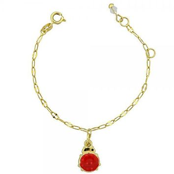 Gold Layered 03.16.0004 Charm Bracelet, Ladybug Design, Enamel Finish, Gold Tone
