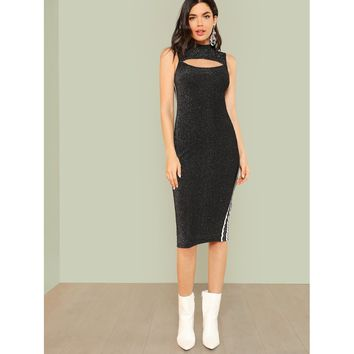 Cut Out Front Striped Side Glitter Dress